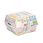 Karton Hamburger bakje middel 14x12.5x8cm Parole