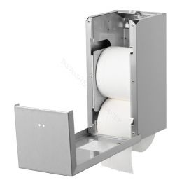 Toiletrolhouder Dispenser Qbic voor 2 Traditionele Rollen RVS