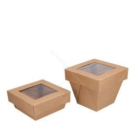 Deksel met venster karton voor 113x113mm Viking Cube Bruin