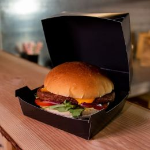 BIO Kartonnen Hamburger Bakje Groot Zwart
