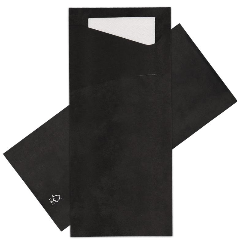 Afbeelding van Bestekzakjes Zwart met Wit servet